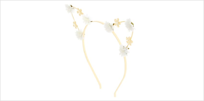 Go to Product: White Petal Cat Ears Headband from Claires