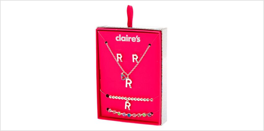 Go to Product: Silver Rainbow Initial Jewellery Gift Set - R, 4 Pack from Claires