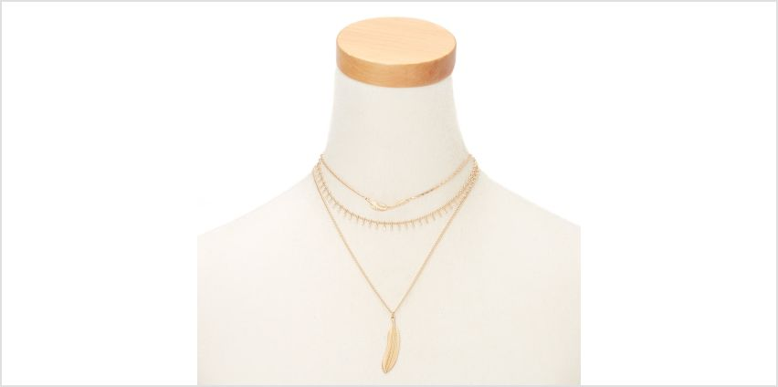 Go to Product: Gold Feather Multi Strand Necklace from Claires