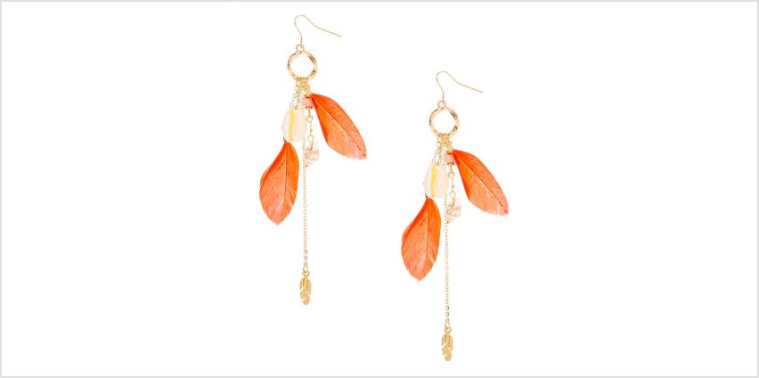"Go to Product: Gold 4.5"" Shell Feather Drop Earrings - Coral from Claires"