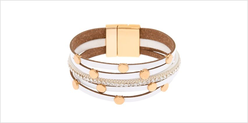 Go to Product: Gold Layered Wrap Bracelet - White from Claires