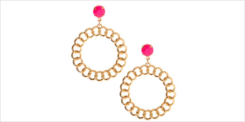 "Go to Product: Gold 2"" Beaded Chain Link Drop Earrings - Pink from Claires"