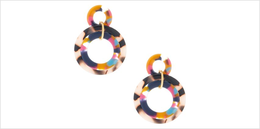 "Go to Product: Gold 2"" Layered Rainbow Resin Tortoiseshell Drop Earrings from Claires"