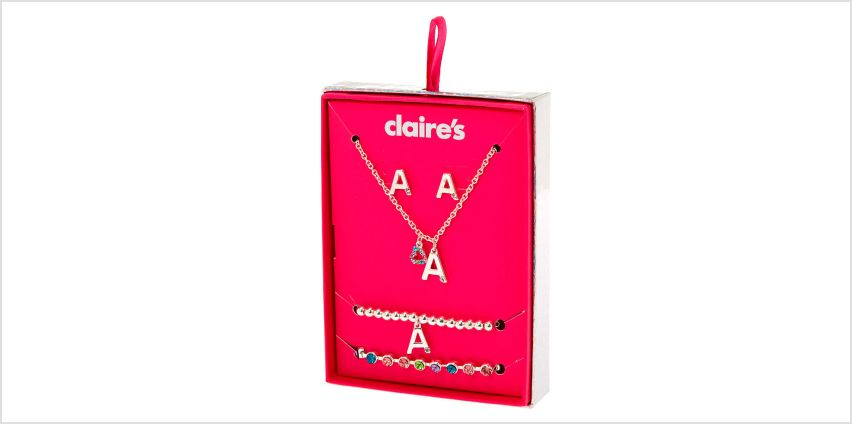 Go to Product: Silver Rainbow Initial Jewellery Gift Set - A, 4 Pack from Claires