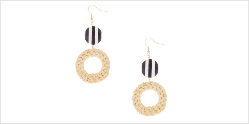 "Go to Product: Gold 3"" Round Striped Straw Drop Earrings - White from Claires"