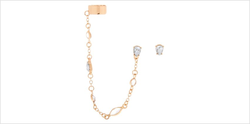 Go to Product: Gold Teardrop Crystal Ear Connector Earrings from Claires