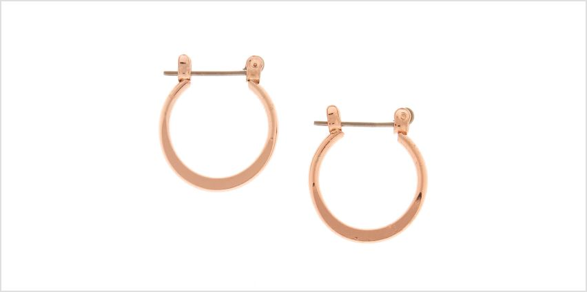 Go to Product: Rose Gold 15MM Knife Edge Hoop Earrings from Claires
