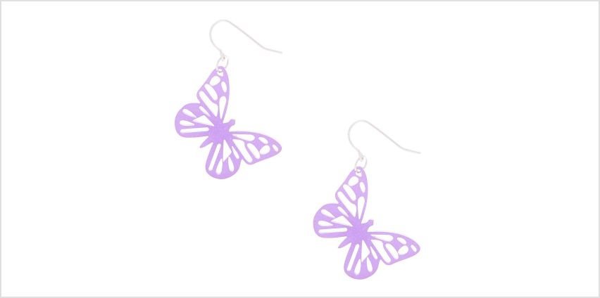 "Go to Product: Silver 1"" Glitter Butterfly Drop Earrings - Purple from Claires"