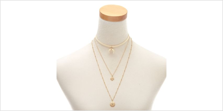 Go to Product: Gold Horn Choker Multi Strand Necklaces - 2 Pack from Claires