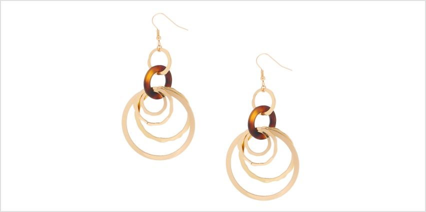"""Go to Product: Gold 2.5"""" Round Link Resin Tortoiseshell Drop Earrings - Brown from Claires"""