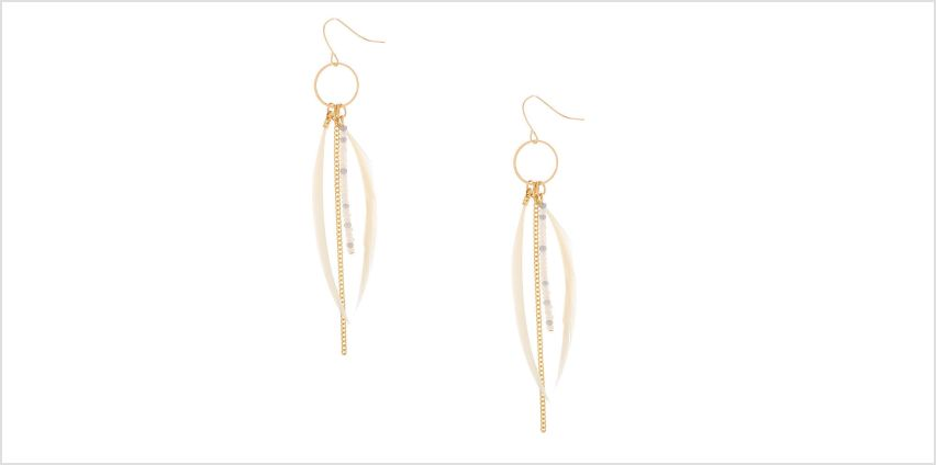 "Go to Product: Gold 4"" Skinny Beaded Feather Drop Earrings - Ivory from Claires"