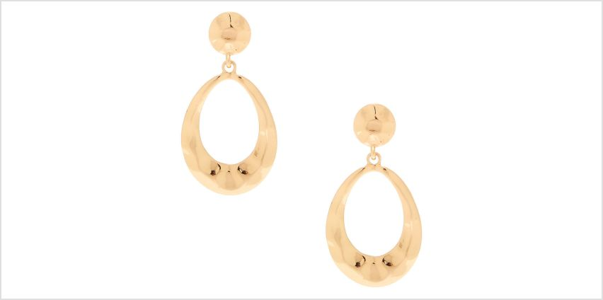 "Go to Product: Gold 2"" Hammered Drop Earrings from Claires"