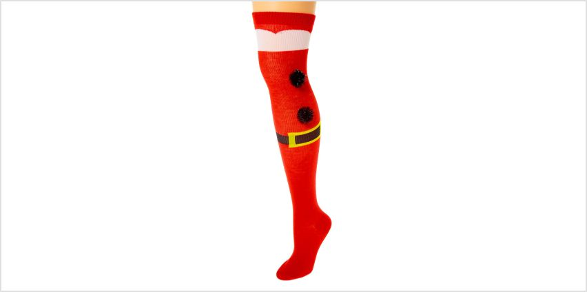 Go to Product: Santa Pom Over the Knee Socks - Red from Claires