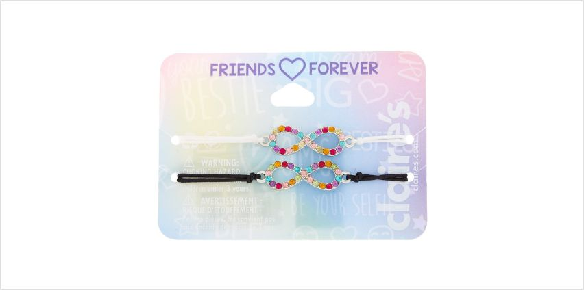 Go to Product: Rainbow Infinity Adjustable Friendship Bracelets - 2 Pack from Claires