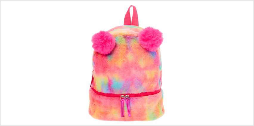 Go to Product: Faux Fur Rainbow Pom Pom Mini Backpack from Claires