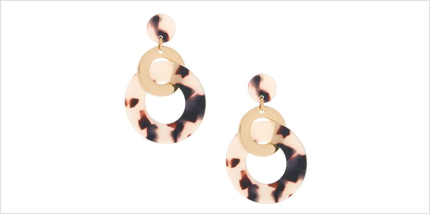 """Go to Product: Gold 2"""" Resin Tortoiseshell Ring Link Drop Earrings from Claires"""