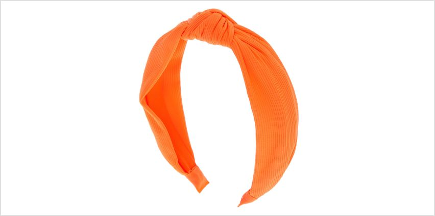 Go to Product: Ribbed Knotted Headband - Neon Orange from Claires