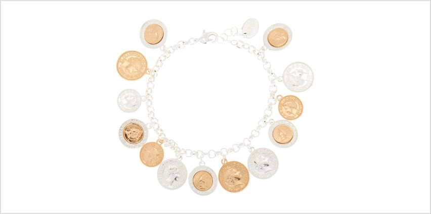 Go to Product: Mixed Metal Coin Charm Bracelet from Claires