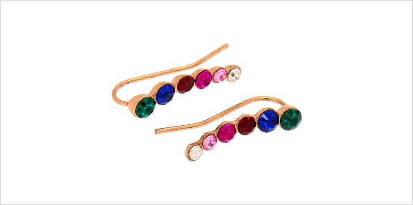 """Go to Product: Rose Gold 1"""" Rainbow Graduated Crystal Ear Crawler Earrings from Claires"""