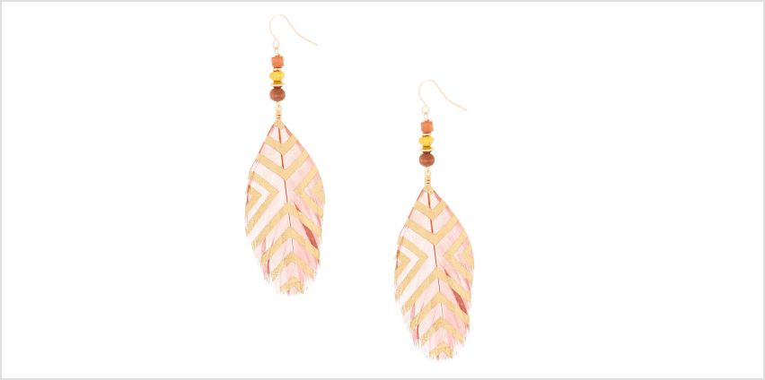 "Go to Product: 4"" Feather Bead Drop Earrings - Brown from Claires"