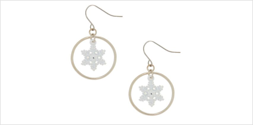 """Go to Product: 1"""" Snowflake Hoop Drop Earrings - White from Claires"""