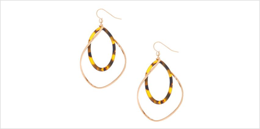 "Go to Product: Gold 2"" Resin Tortoiseshell Twist Drop Earrings - Brown from Claires"