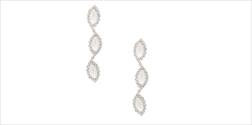 "Go to Product: Pearl & Rhinestone 2"" Linear Drop Earrings from Claires"