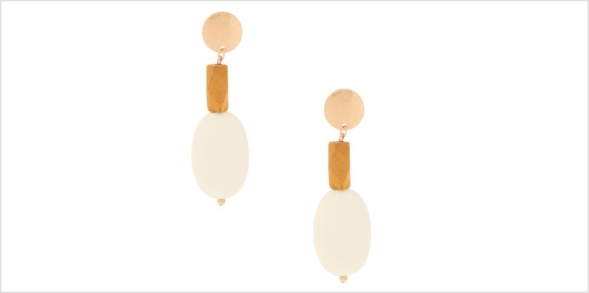 "Go to Product: Gold 3"" Mixed Wood Drop Earrings from Claires"