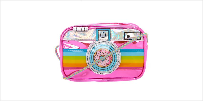 Go to Product: Neon Rainbow Camera Crossbody Bag from Claires