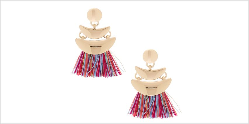 "Go to Product: Gold 1"" Rainbow Tassel Drop Earrings from Claires"