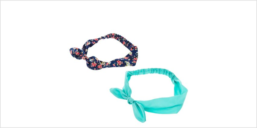 Go to Product: Navy & Mint Floral Knotted Bow Headwraps - 2 Pack from Claires