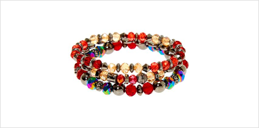 Go to Product: Hematite Bead Stretch Bracelets - Red, 3 Pack from Claires
