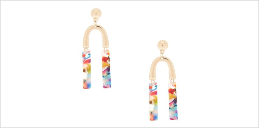 """Go to Product: Gold 2.5"""" Horseshoe Resin Abstract Drop Earrings from Claires"""