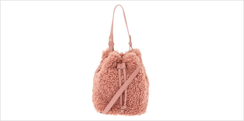 Go to Product: Sherpa Bucket Crossbody Bag - Pink from Claires