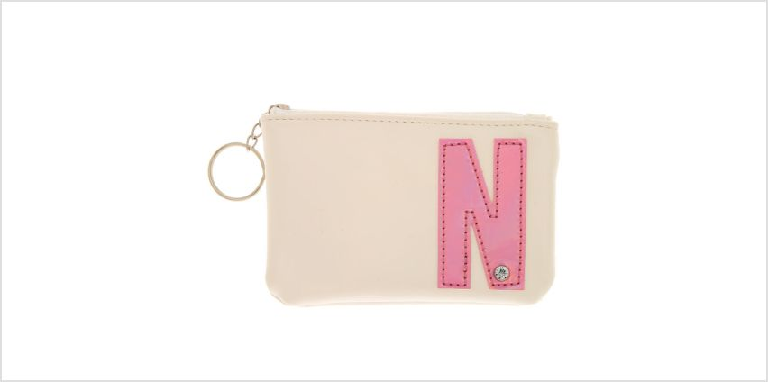 Go to Product: White Faux Leather Pink Initial Coin Purse - N from Claires
