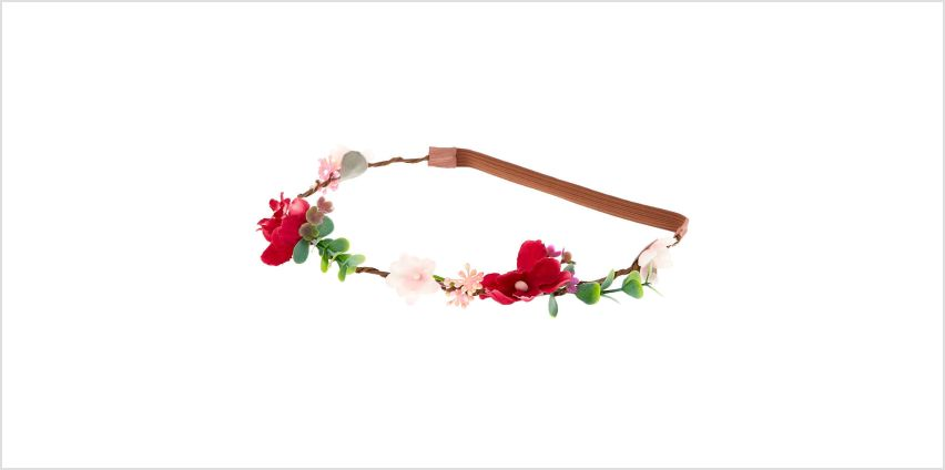 Go to Product: Twiggy Flower Crown Headwrap - Burgundy from Claires