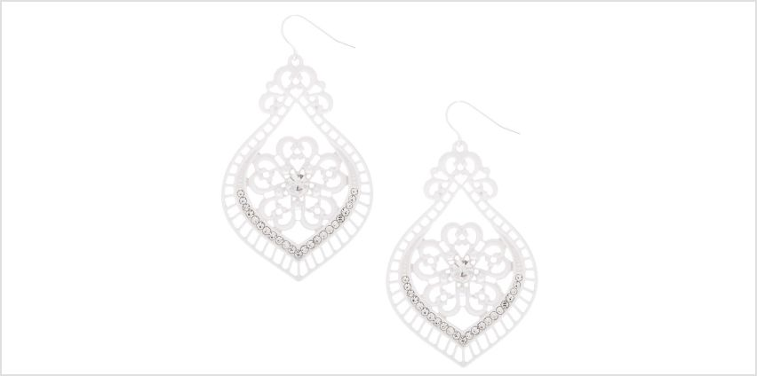 "Go to Product: 2"" Crochet Chandelier Drop Earrings - White from Claires"