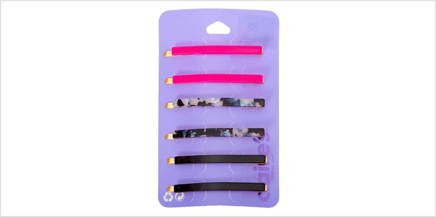 Go to Product: Black & Pink Tortoiseshell Hair Pins - 6 Pack from Claires