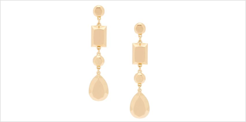 """Go to Product: Gold 3"""" Metallic Shape Drop Earrings from Claires"""