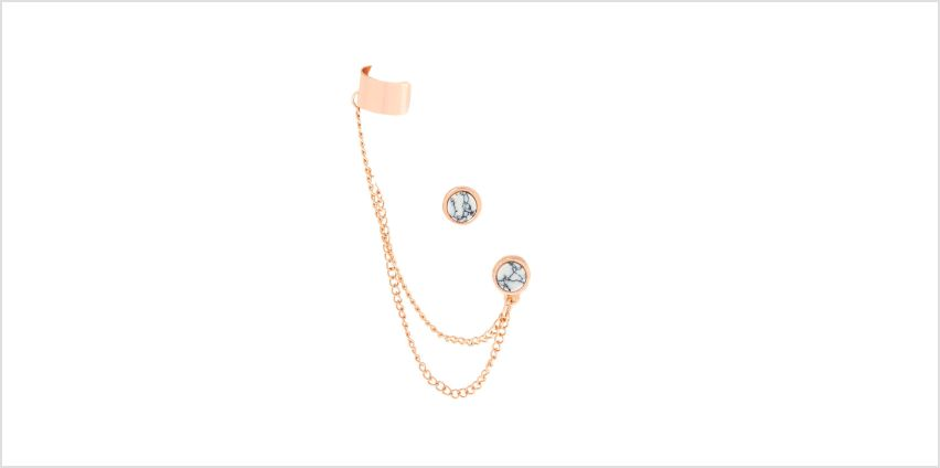 Go to Product: Rose Gold & Marble Connector Earrings from Claires
