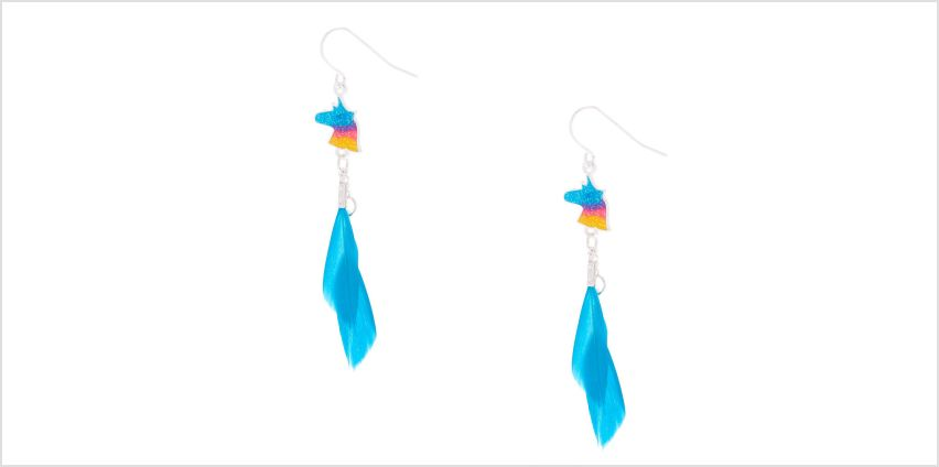 """Go to Product: Silver 2"""" Unicorn Feather Drop Earrings - Turquoise from Claires"""