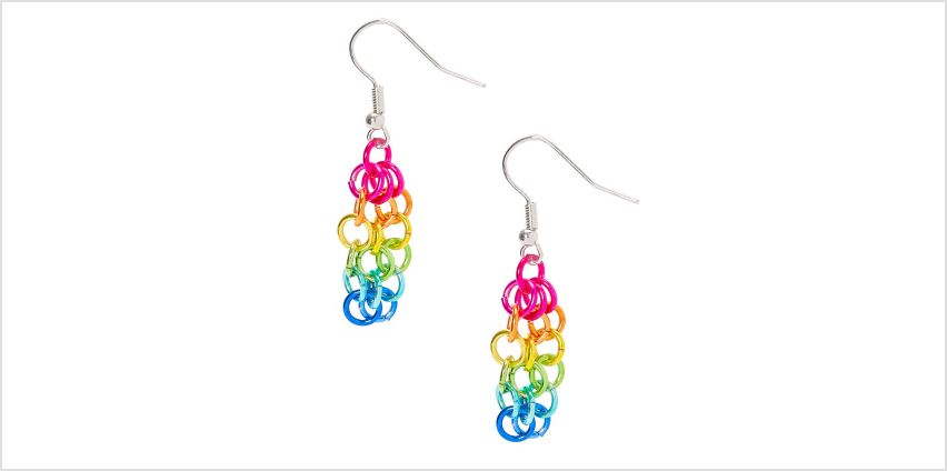 """Go to Product: Silver 1.5"""" Rainbow Chain Link Drop Earrings from Claires"""
