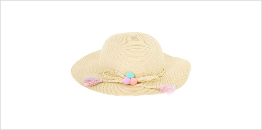 Go to Product: Claire's Club Pom Pom Floppy Straw Hat - Tan from Claires