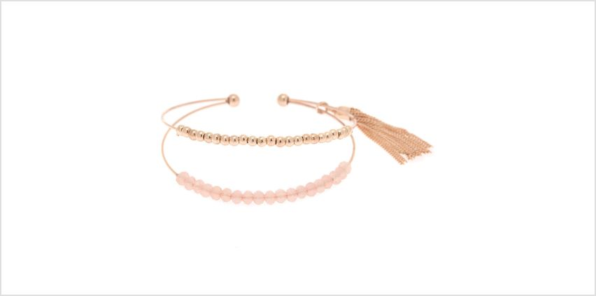 Go to Product: Gold Beaded Tassel Cuff Bracelet - Pink from Claires