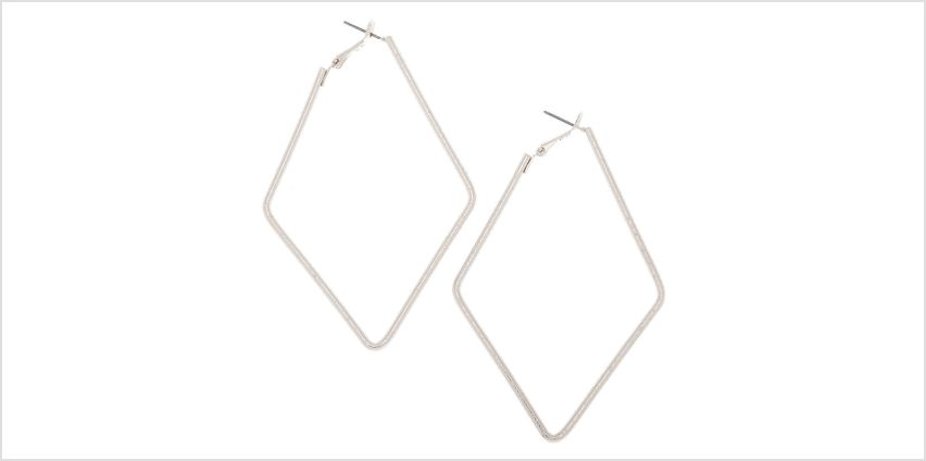 Go to Product: Silver 80MM Textured Diamond Hoop Earrings from Claires