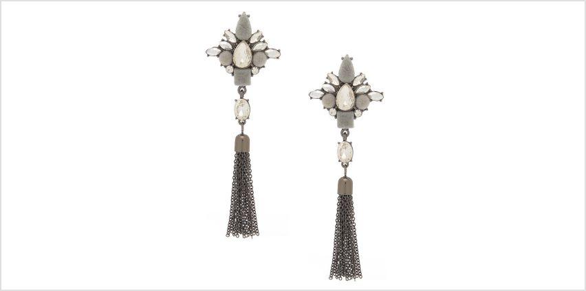 "Go to Product: Hematite 3"" Velvet Glam Fringe Drop Earrings from Claires"