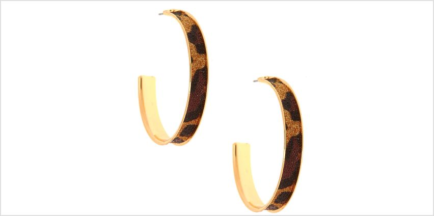 Go to Product: Gold 40MM Glitter Leopard Hoop Earrings from Claires