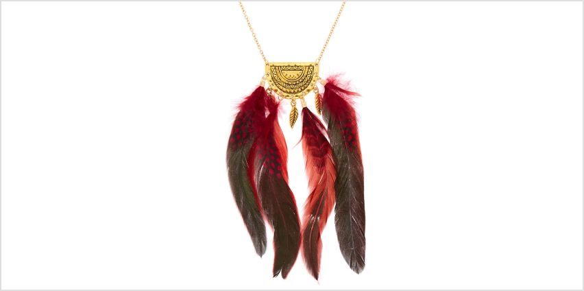 Go to Product: Gold Polka Dot Feather Long Pendant Necklace - Red from Claires