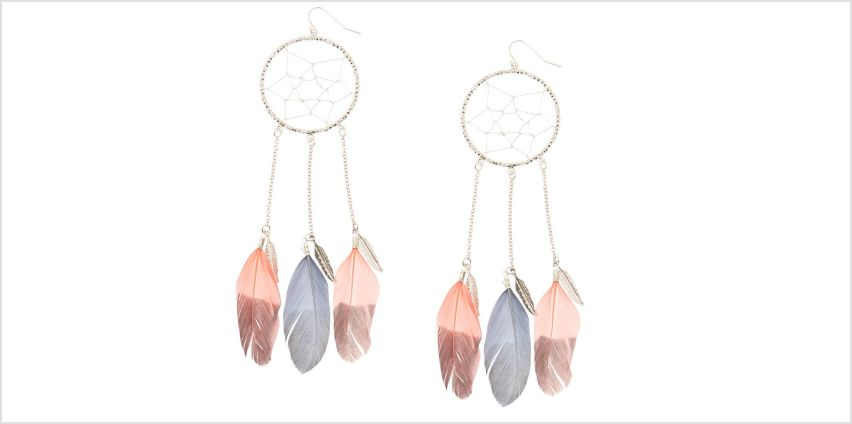 Go to Product: Pink & Grey Dreamcatcher Drop Earrings from Claires