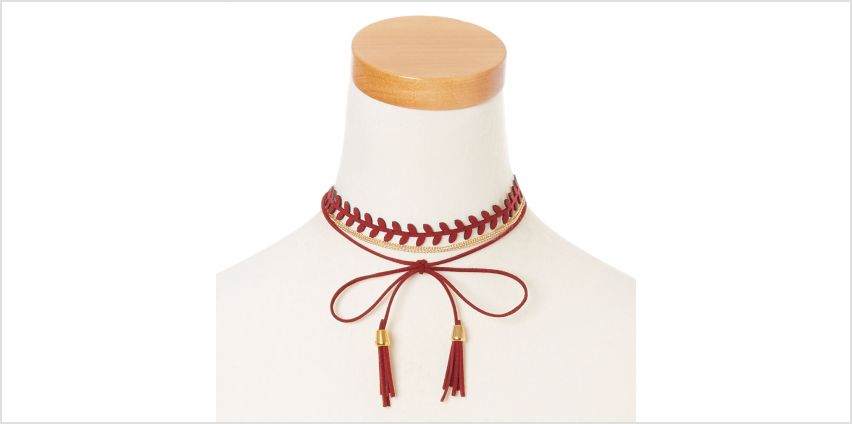 Go to Product: Burgundy Tassel and Gold Chain Dual Wear Head wrap from Claires
